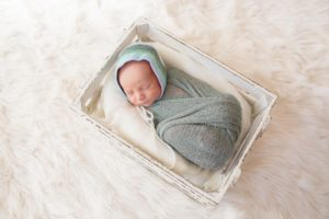 posed melbourne newborn photography colour photo baby boy in crate wide shot